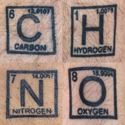Essential elements of life (carbon, hydrogen, nitrogen and oxygen) have been engraved on the body of a European medicinal chemist as a tribute to their relevance, beauty and role in (his professional) life.